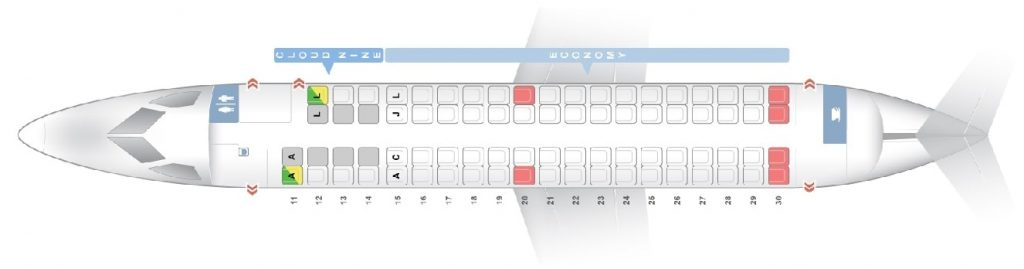 Seat Map and Seating Chart Bombardier Dash 8 Q400 Cloud Nine Business and Economy Class Ethiopian Airlines