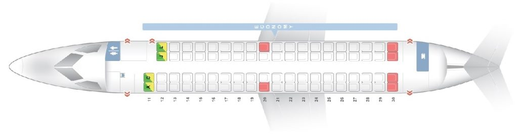 Seat Map and Seating Chart Bombardier Dash 8 Q400 Economy Class Ethiopian Airlines
