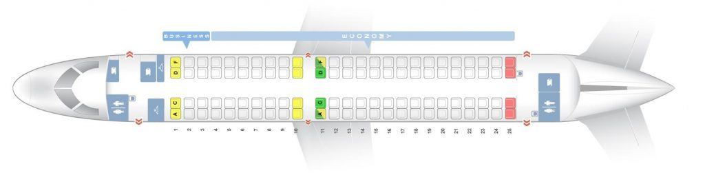 Seat Map and Seating Chart Embraer E190 Finnair NORRA Nordic Regional Airlines