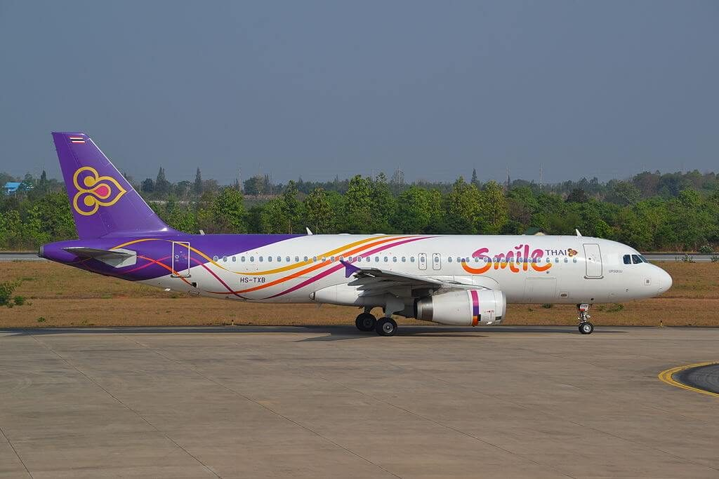 Airbus A320 232 HS TXB THAI Smile Nakhon Phanom นครพนม at Khon Kaen Airport