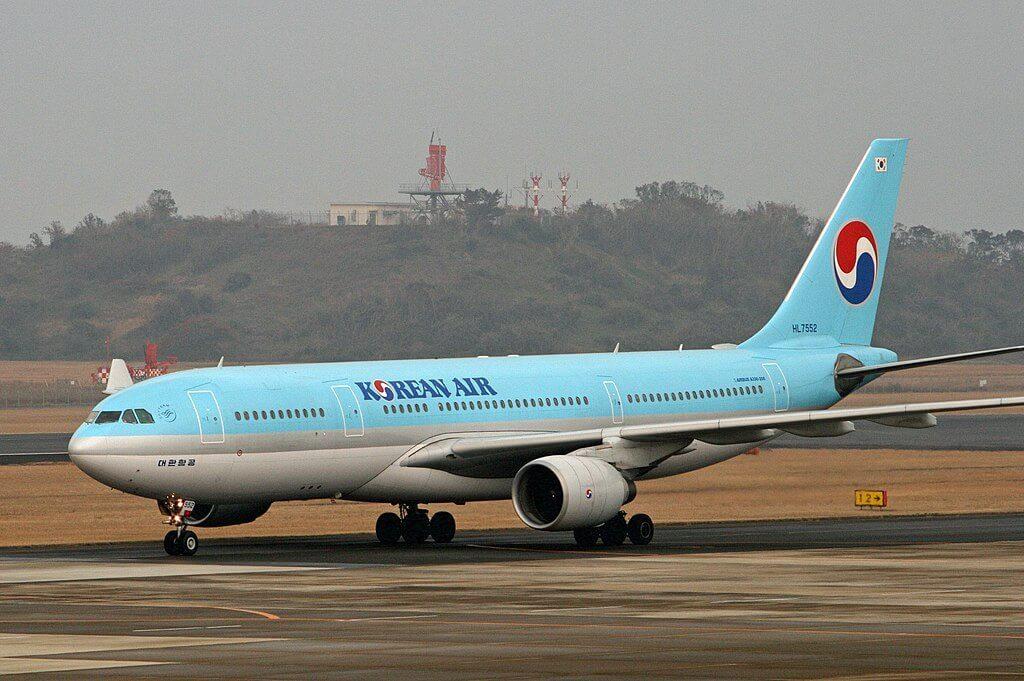 Airbus A330 223 HL7552 Korean Air aircraft at Nagasaki Airport