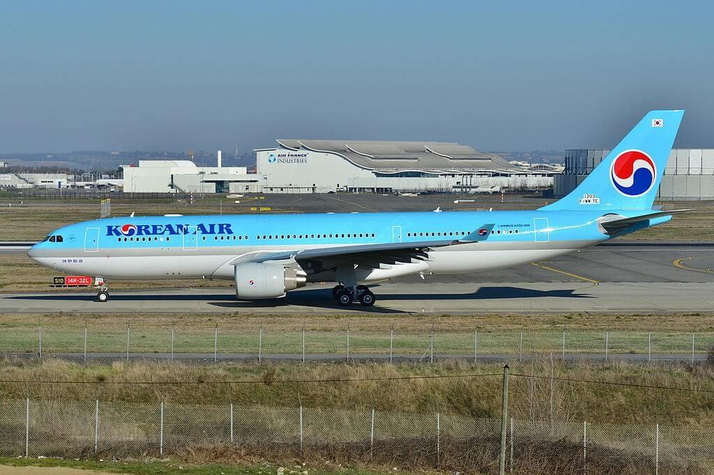 Airbus A330 223 HL8228 Korean Air aircraft at Toulouse Blagnac International Airport