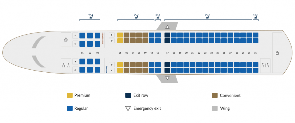 Copa Airlines Embraer 190 Seating Plan 100 Seats Layout