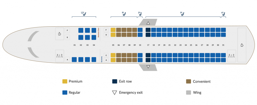 Copa Airlines Embraer 190 Seating Plan 94 Seats Layout