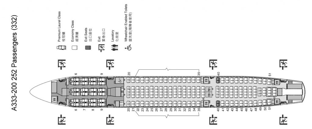 EVA Air Airbus A330 200 Seating Plan