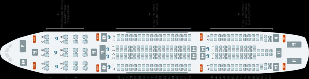 Korean Air Airbus A330 300 New Seating Plan Layout Configuration 276 Seats Without First Class