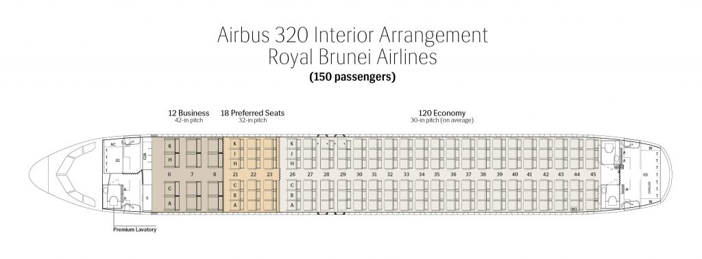 Seat Map and Seating Chart Airbus A320 200ceo Royal Brunei Airlines