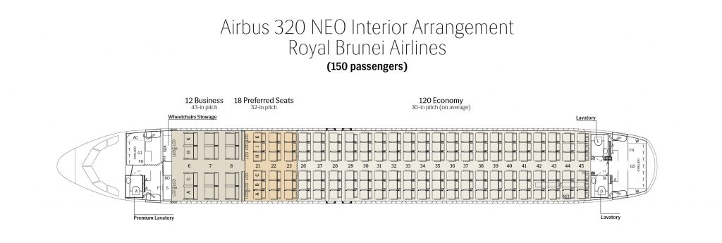 Seat Map and Seating Chart Airbus A320neo Royal Brunei Airlines
