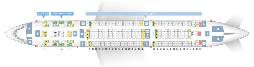 Seat Map and Seating Chart Airbus A330 300 Korean Air 272 Seats