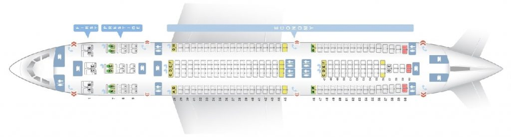 Seat Map and Seating Chart Airbus A330 300 Korean Air 276 Seats