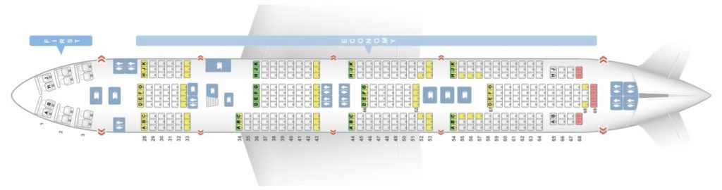 Seat Map and Seating Chart Boeing 747 400 Main Deck Korean Air