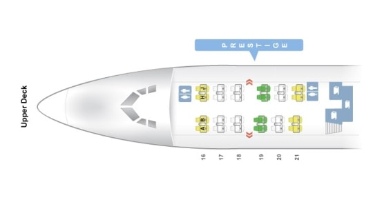 Seat Map and Seating Chart Boeing 747 400 Upper Deck Korean Air