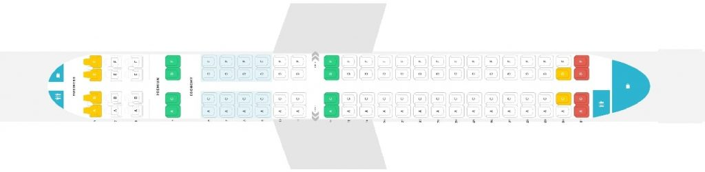 Seat Map and Seating Chart Embraer 190 Config 100 Seats Copa Airlines