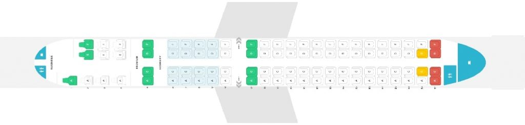 Seat Map and Seating Chart Embraer 190 Config 94 Seats Copa Airlines