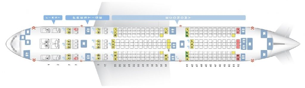 Seat Map and Seating Chart Korean Air Boeing 777 200ER 248 Pax