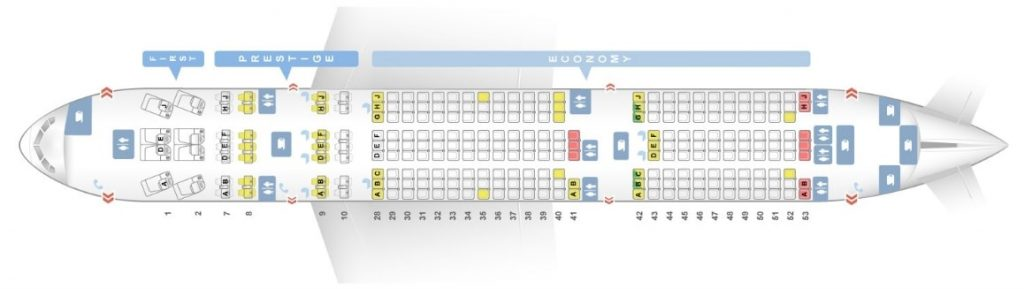 Seat Map and Seating Chart Korean Air Boeing 777 200ER 261 Pax