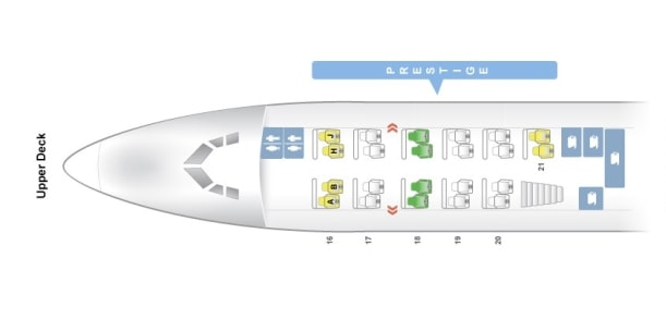 Seat Map and Seating Chart Upper Deck Boeing 747 8i Korean Air