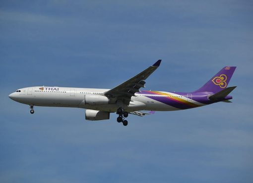 THAI Airways Airbus A330 343 HS TBA Amnat Charoen อำนาจเจริญ at Suvarnabhumi International Airport
