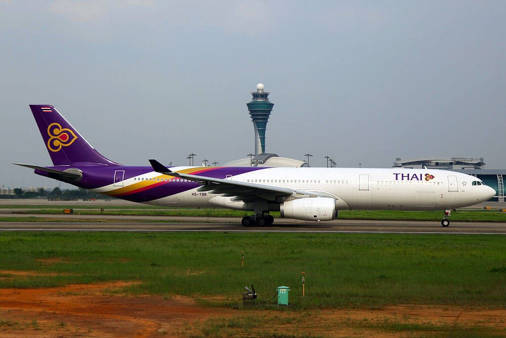 THAI Airways Airbus A330 343 HS TBB Phrae แพร่ at Guangzhou Baiyun International Airport