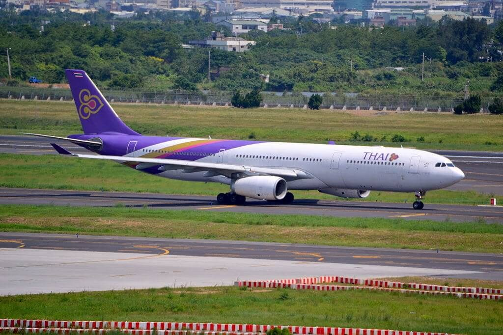 THAI Airways Airbus A330 343 HS TBC Kanchanaburi กาญจนบุรี at Taiwan Taoyuan International Airport