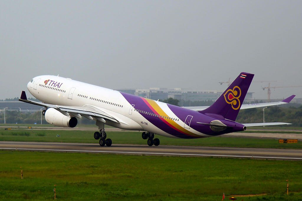 THAI Airways Airbus A330 343 HS TBE Sakon Nakhon สกลนคร at Guangzhou Baiyun International Airport