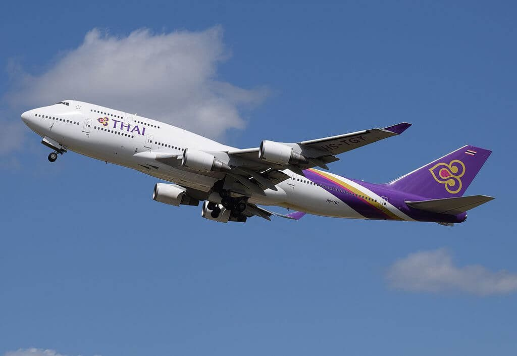 THAI Airways Boeing 747 4D7 HS TGA Srisuriyothai ศรีสุริโยทัย at London Heathrow Airport