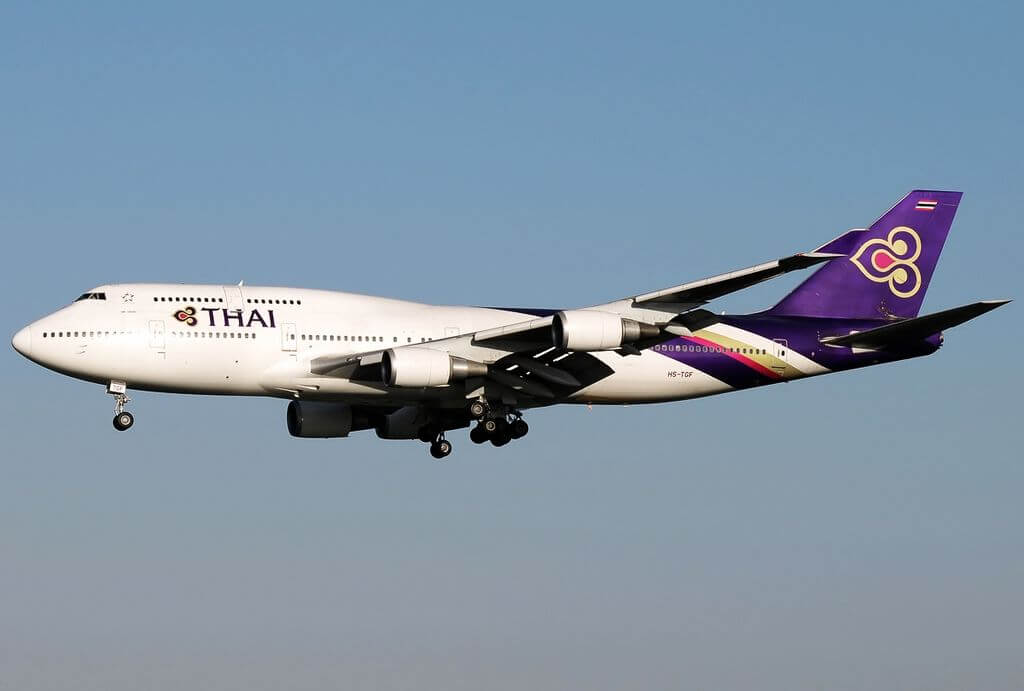 THAI Airways Boeing 747 4D7 HS TGF Sri Ubon ศรีอุบล at Fiumicino Airport
