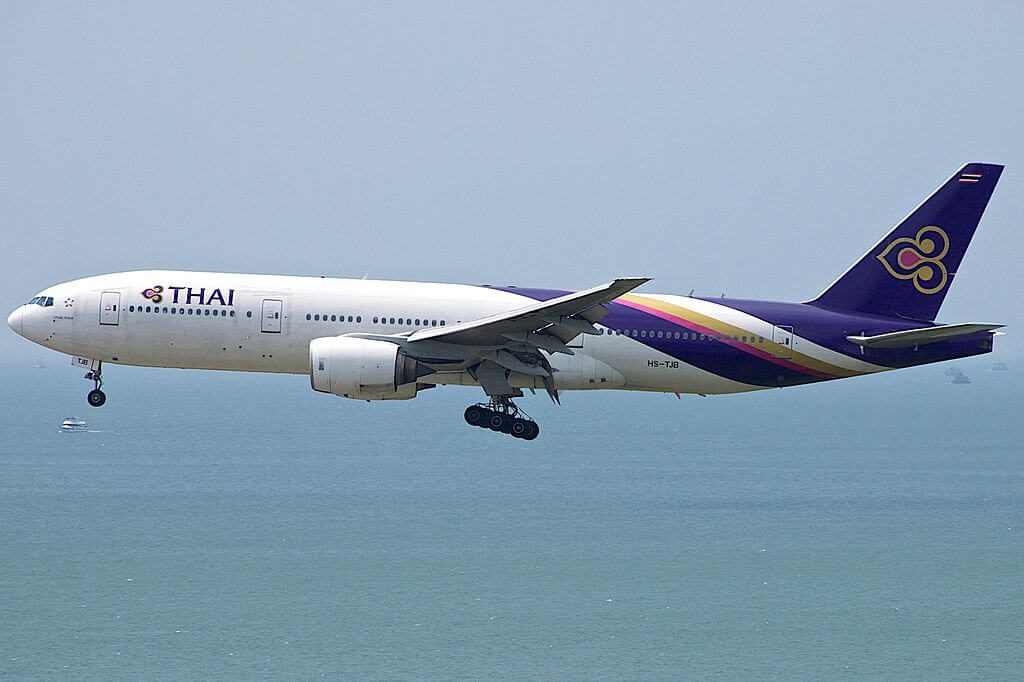 THAI Airways Boeing 777 2D7 HS TJB U Thaithani อุทัยธานี at Hong Kong International Airport