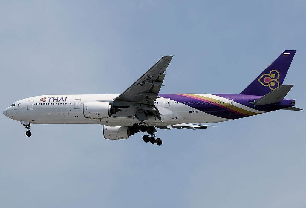 THAI Airways Boeing 777 2D7 HS TJC Nakhon Nayok นครนายก at Singapore Changi Airport
