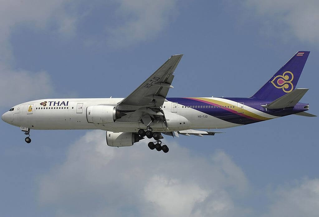 THAI Airways Boeing 777 2D7 HS TJD Mukdahan มุกดาหาร at Singapore Changi Airport