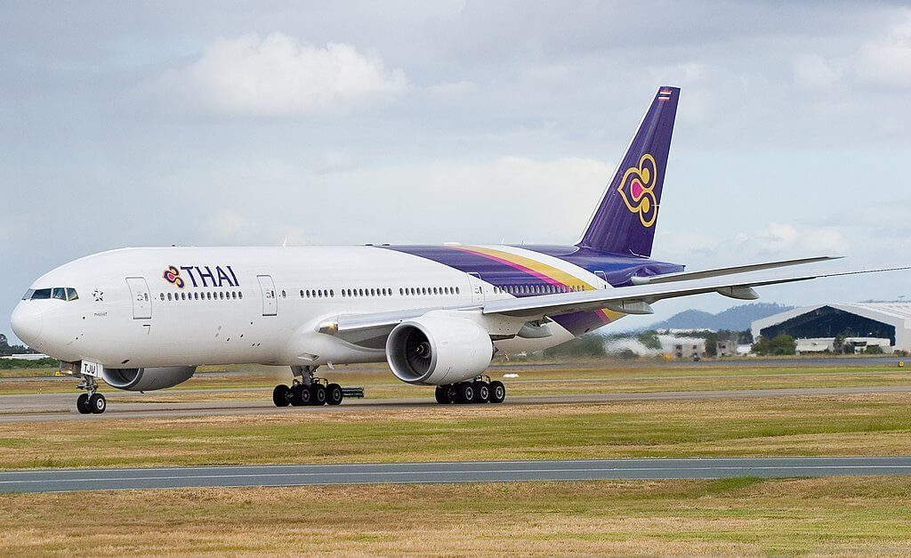 THAI Airways Boeing 777 2D7ER HS TJU Phichit พิจิตร at Brisbane Airport