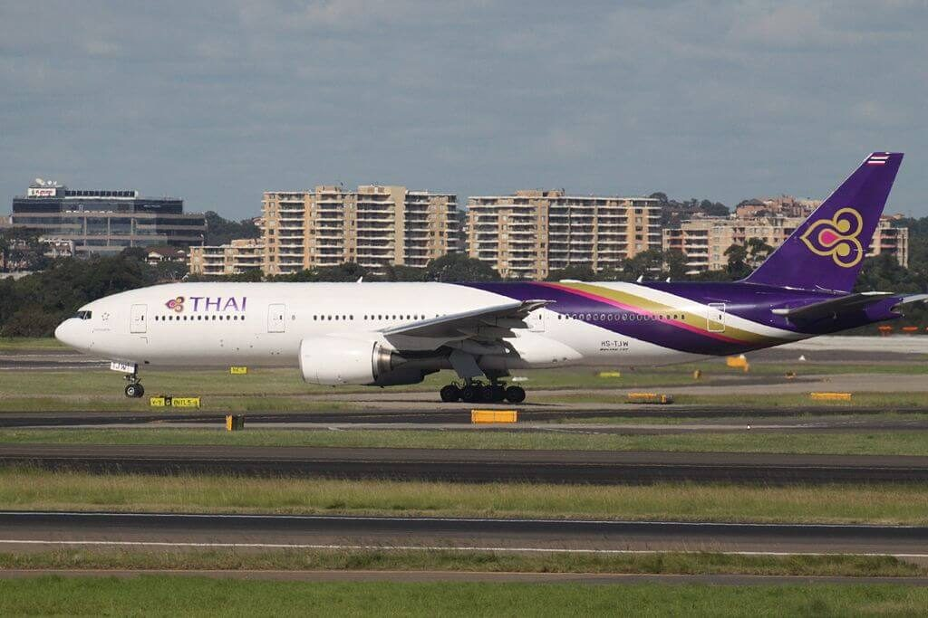 THAI Airways Boeing 777 2D7ER HS TJW Phetchabun เพชรบูรณ์ at Sydney Airport