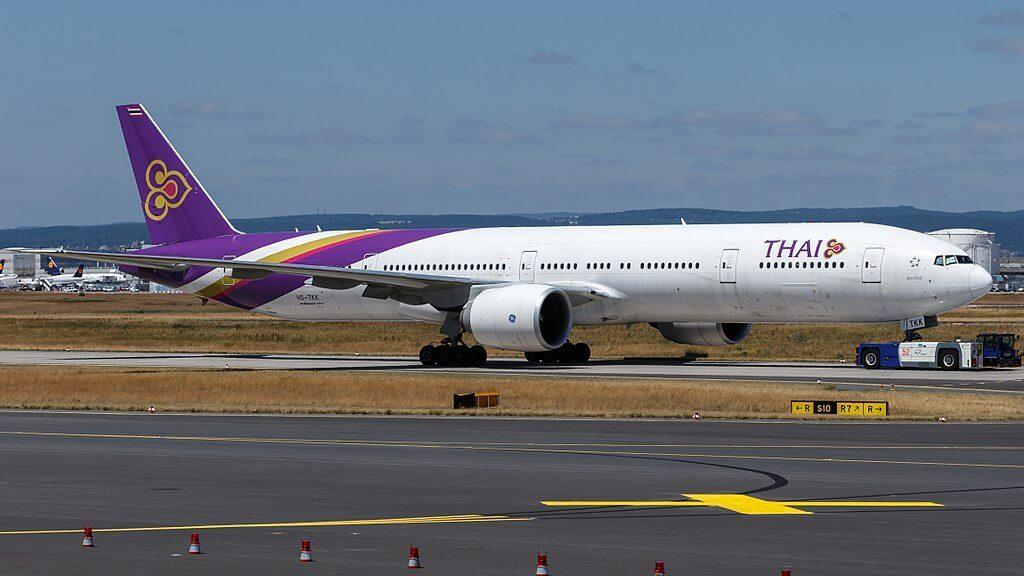 THAI Airways Boeing 777 3ALER HS TKK Philavan พิลาวัณย์ at Frankfurt Airport