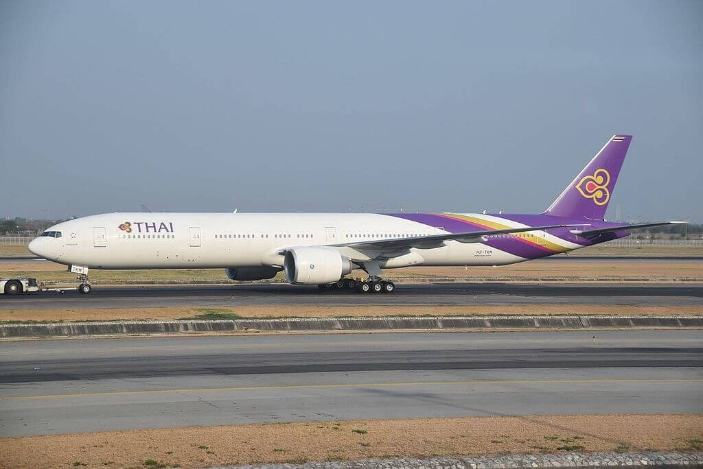 THAI Airways Boeing 777 3ALER HS TKM Prabhasri ประภาศรี at Suvarnabhumi International Airport