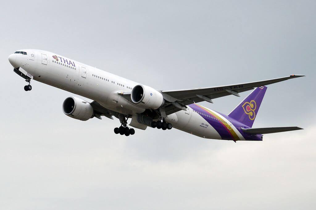 THAI Airways Boeing 777 3ALER HS TKN Medininat เมทินีนาถ at Zurich International Airport