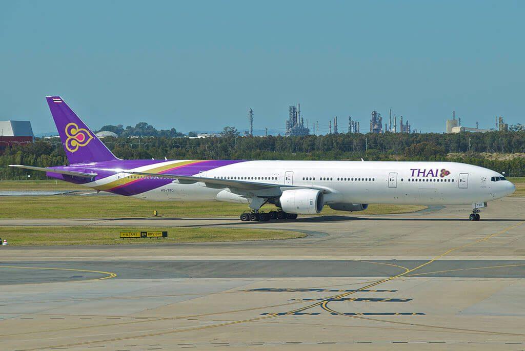 THAI Airways Boeing 777 3D7 HS TKD Thepalai เทพาลัย at Brisbane Airport