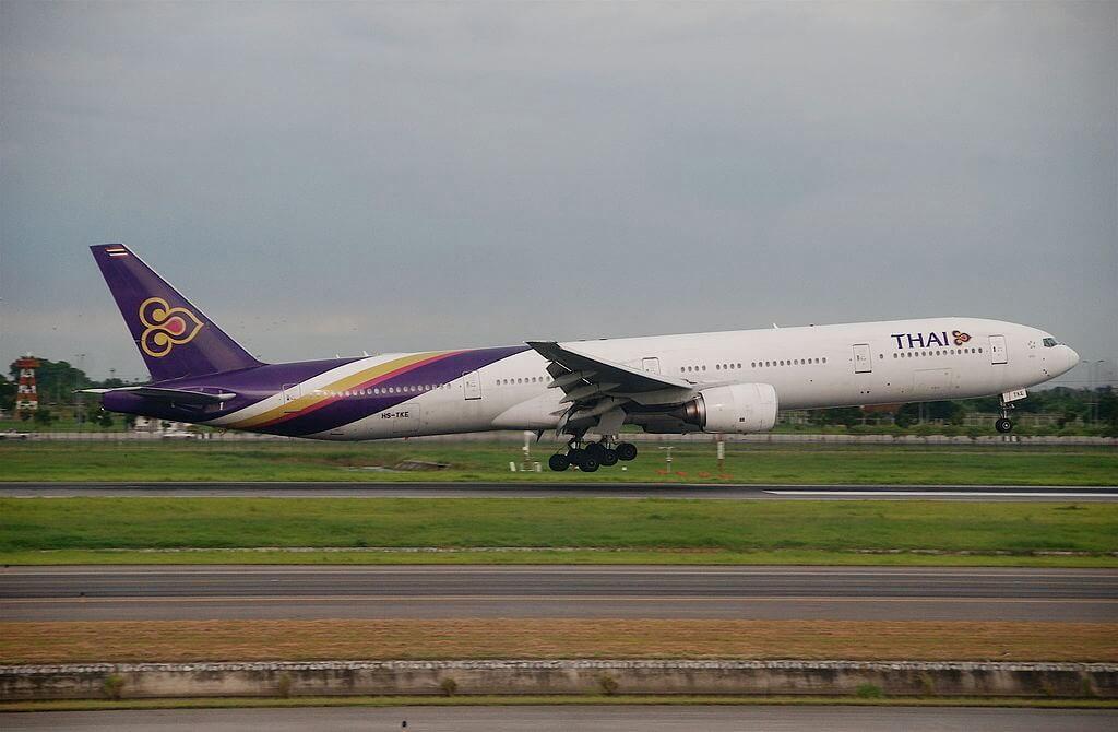 THAI Airways Boeing 777 3D7 HS TKE Sukhirin สุคิริน at Suvarnabhumi International Airport