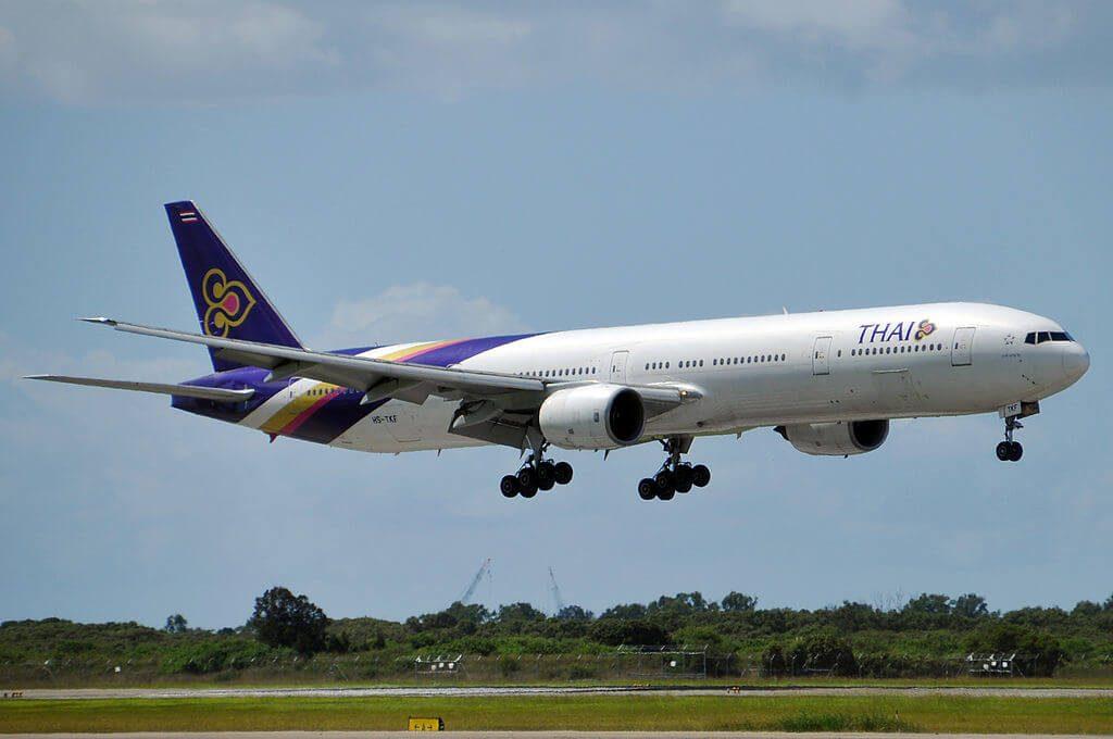 THAI Airways Boeing 777 3D7 HS TKF Lahan Sai ละหานทราย at Brisbane Airport