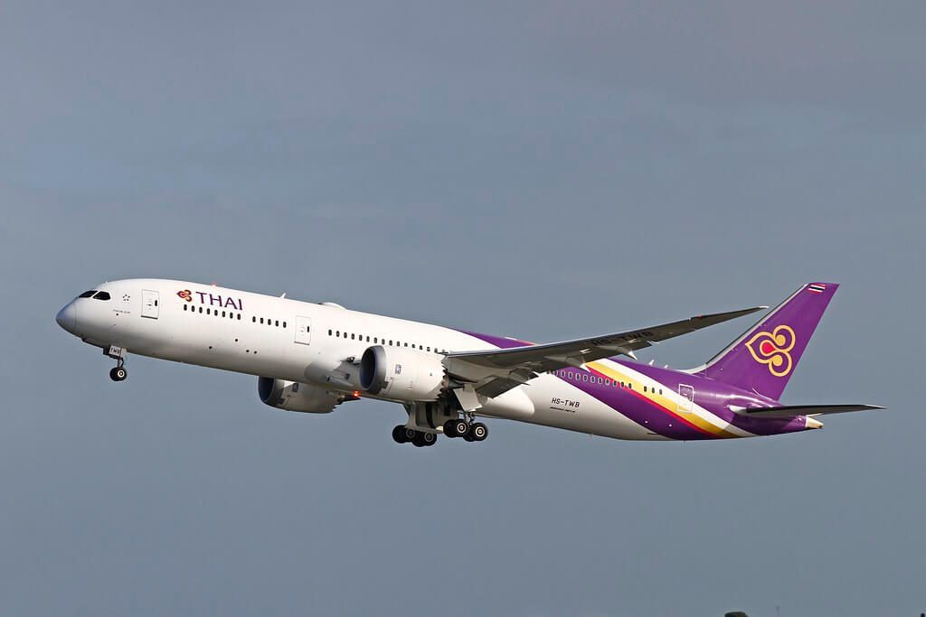 THAI Airways Boeing 787 9 Dreamliner HS TWB Phrom Buri พรหมบุรี at Perth Airport