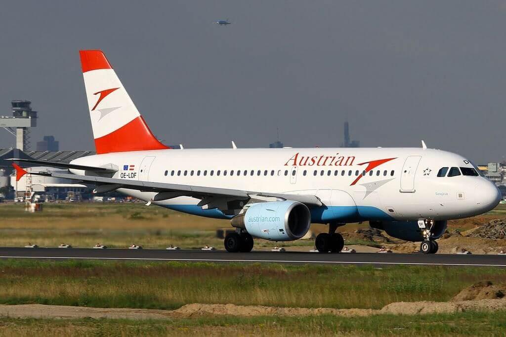 Airbus A319 112 OE LDF Sarajevo Austrian Airlines at Frankfurt Airport