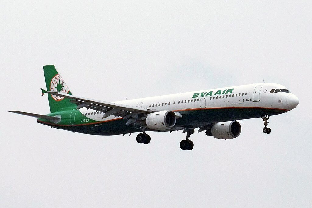 Airbus A321 211 B 16201 EVA Air at Zhengzhou Xinzheng International Airport