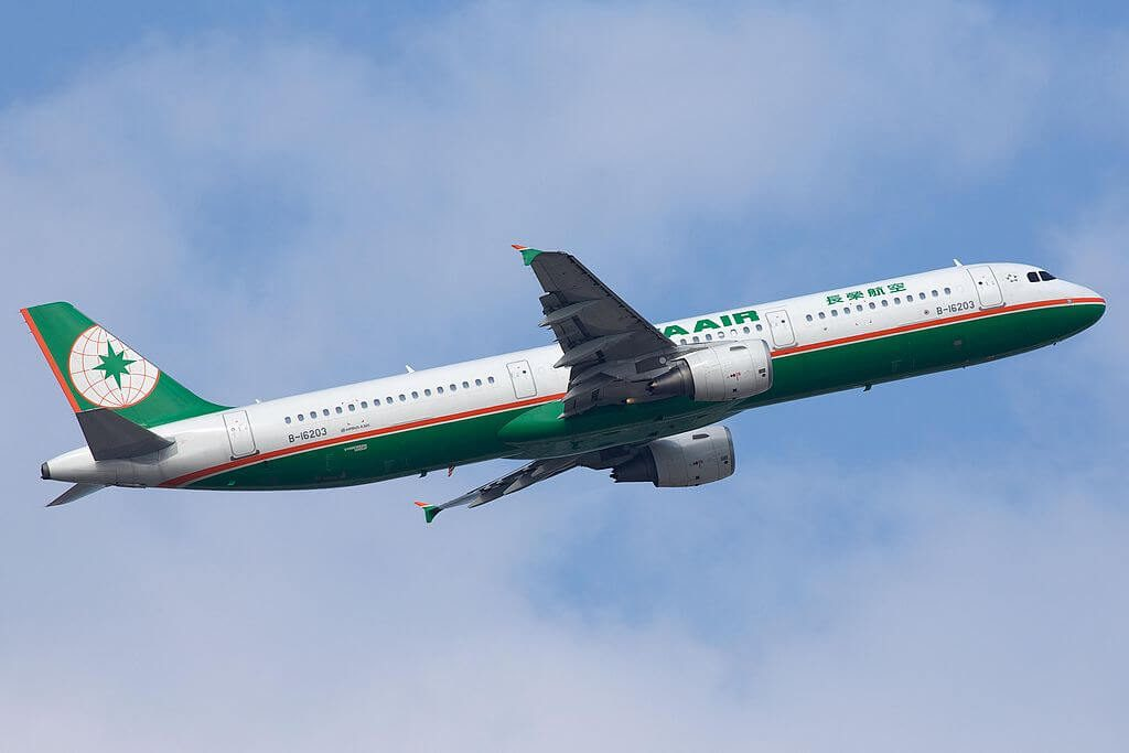 Airbus A321 211 B 16203 EVA Air at Taiwan Taoyuan International Airport