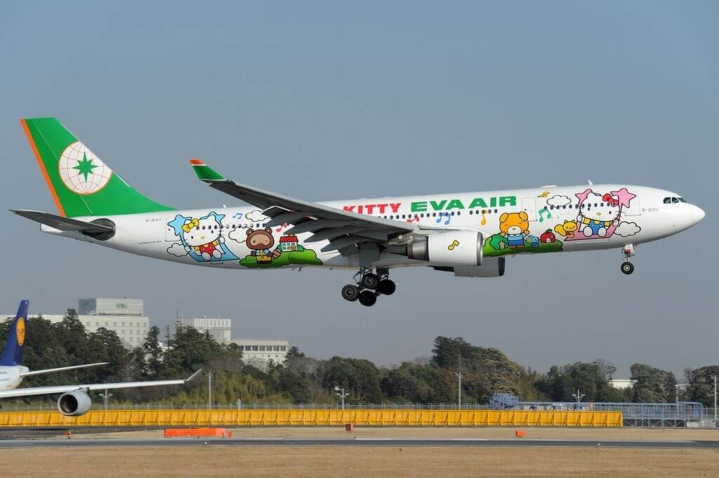 Airbus A330 203 B 16311 EVA Air Hello Kitty Livery at Narita International Airport