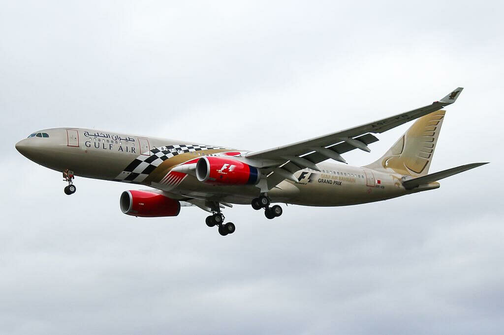 Airbus A330 243 F1 Grand Prix Livery A9C KB Gulf Air at London Heathrow Airport