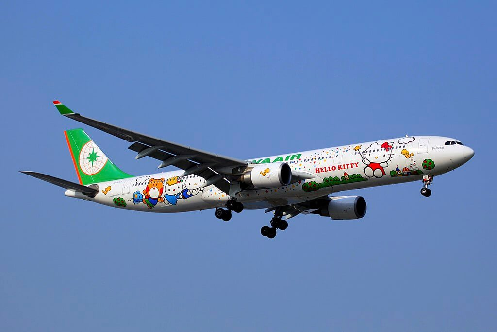 Airbus A330 302 EVA Air B 16331 Hello Kitty With Magic Stars Livery at Shanghai Hongqiao International Airport