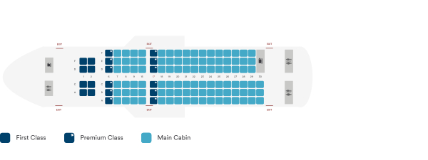 Alaska Airlines Airbus A319 100 Seating Plan Before Retrofit