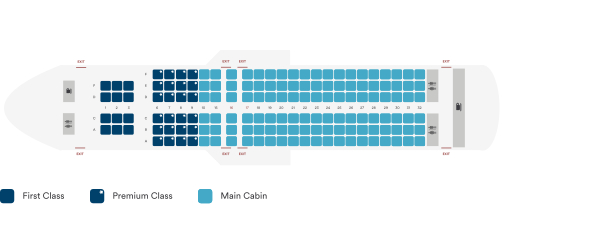 Alaska Airlines Airbus A320 200 Sharklet Seating Plan After Retrofit
