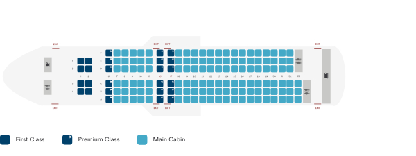 Alaska Airlines Airbus A320 200 Sharklet Seating Plan Before Retrofit