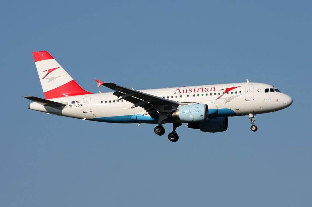 Austrian Airlines Airbus A319 112 OE LDD Moscow at Zurich International Airport
