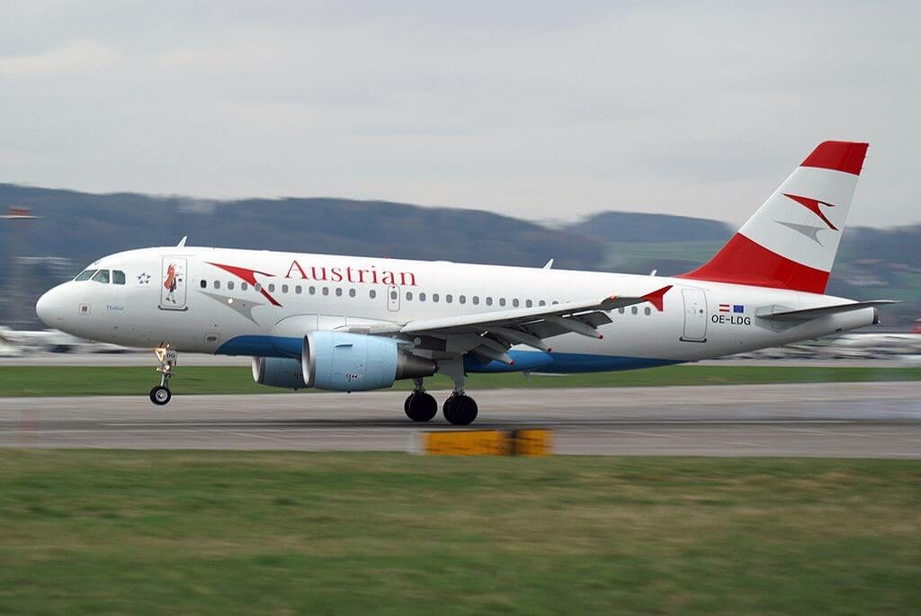 Austrian Airlines Airbus A319 112 OE LDG Tbilisi at Zurich International Airport